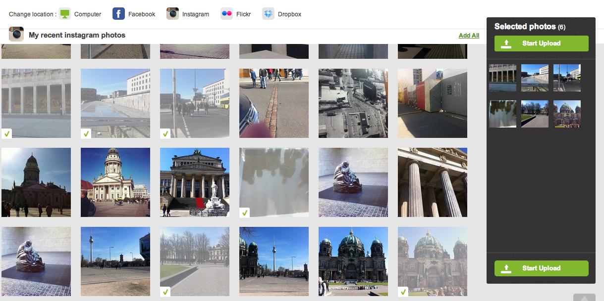 PhotoBox Connect Instagram Upload