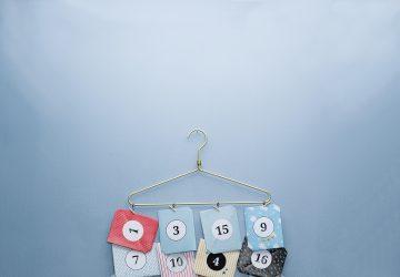 DIY advent calendar hanging on a hanger