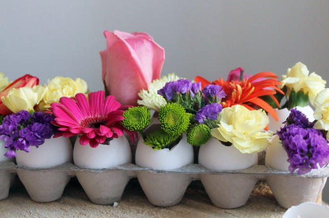 Egg shells used as vases for flowers