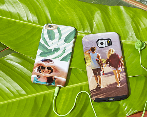 personalised iphone and samsung cases with photos on a jungle leaf
