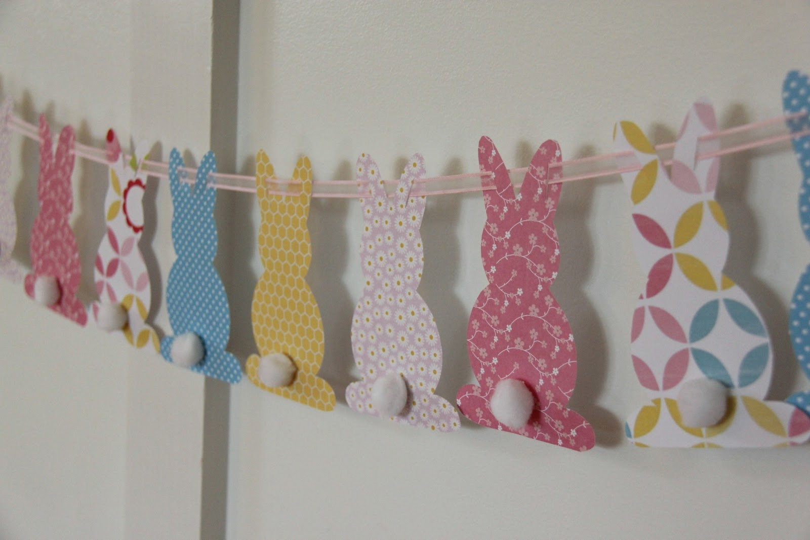 Easter themed home-made rabbit bunting