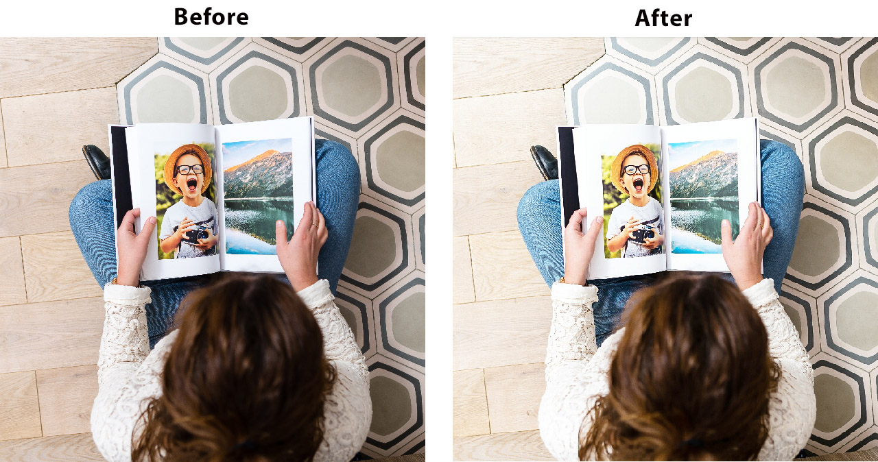 Before and after shot. girl siting on carpet looking at a photo book