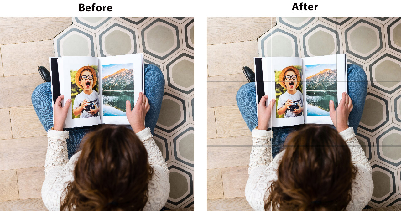 before and after picture. Showing gridlines on a photograph girl sitting on carpet reading photobook