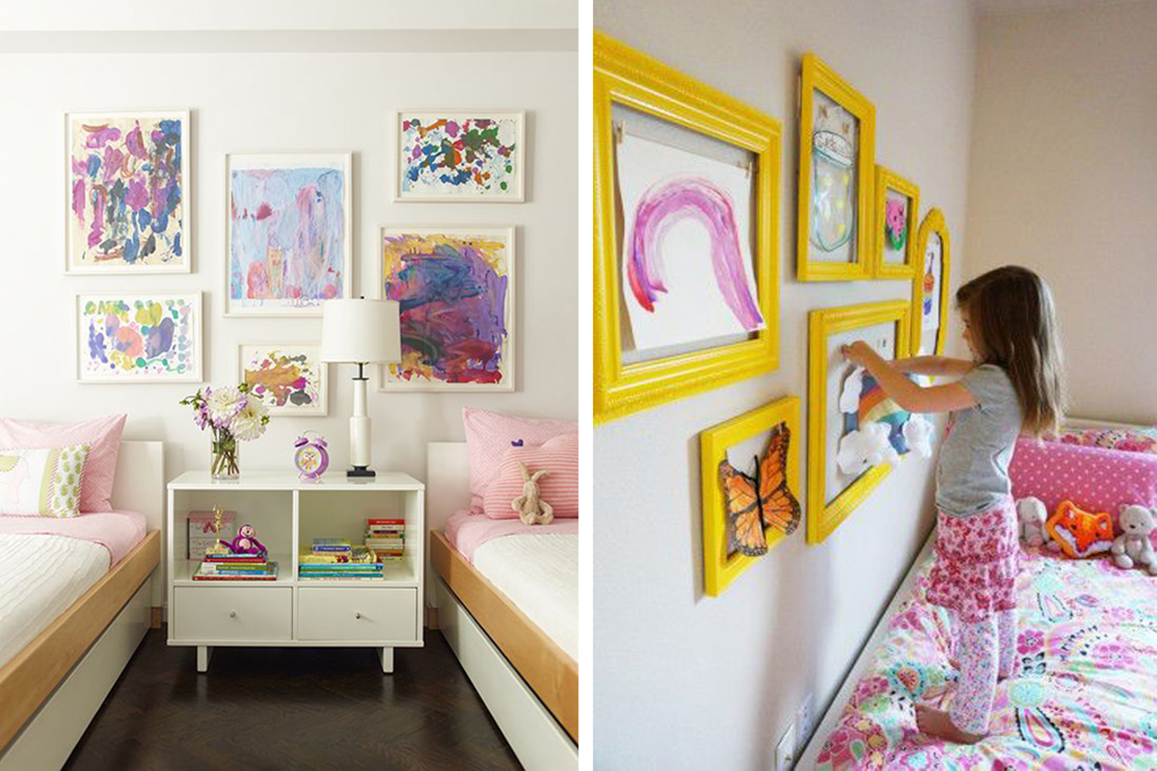 kids drawings hung in a frame on the bedroom wall