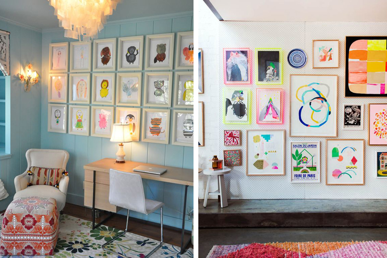Childrens drawings on the wall in frames like an art gallery