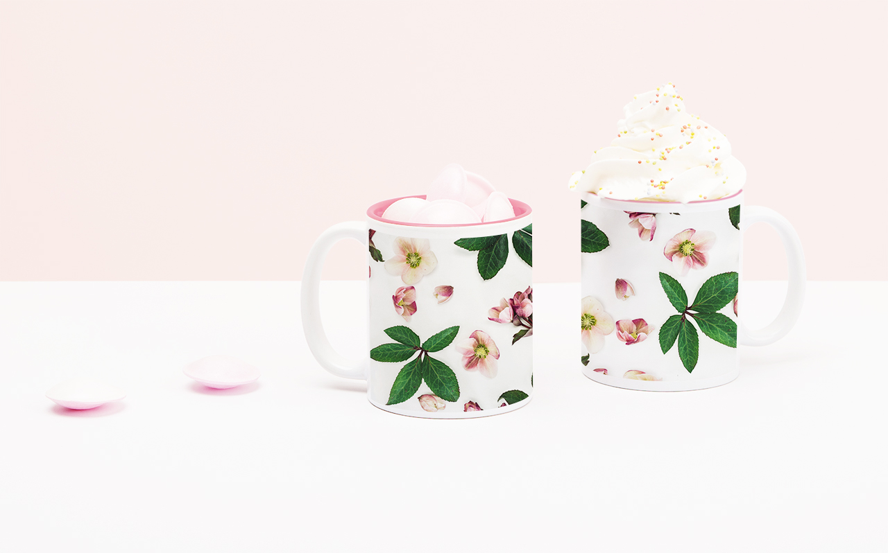 Two mugs with plant prints