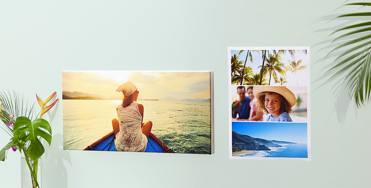 two canvases with travel pictures