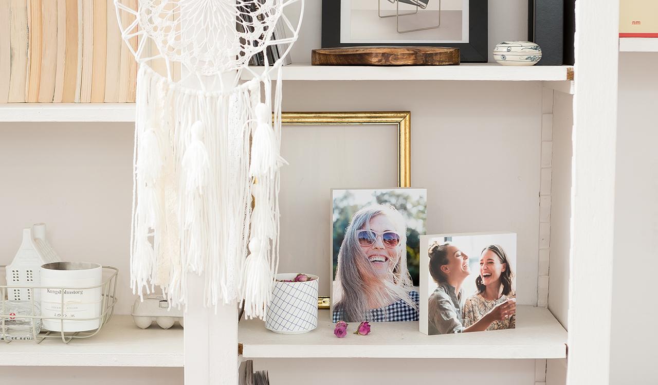 Shelf containing photo blocks