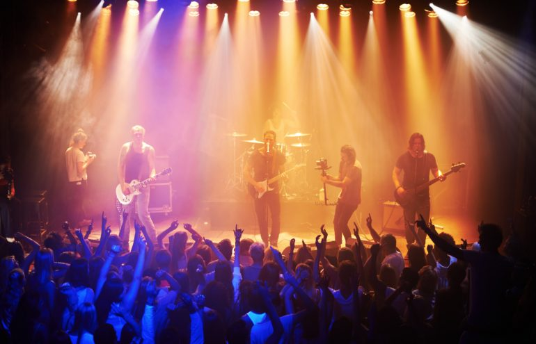 band on a stage at a concert