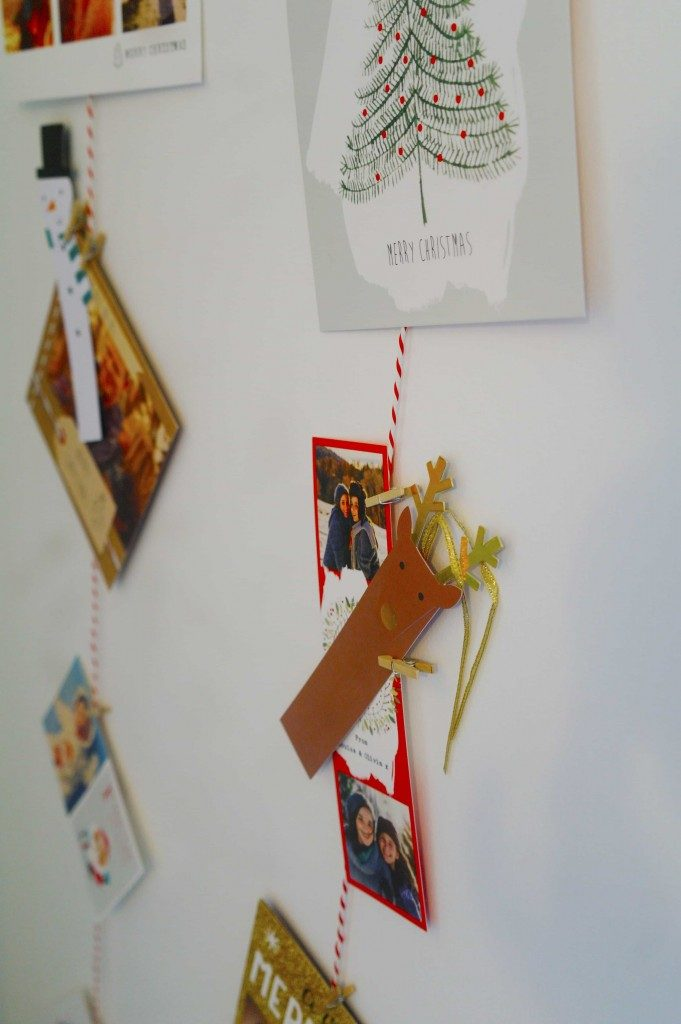Christmas cards on a wall
