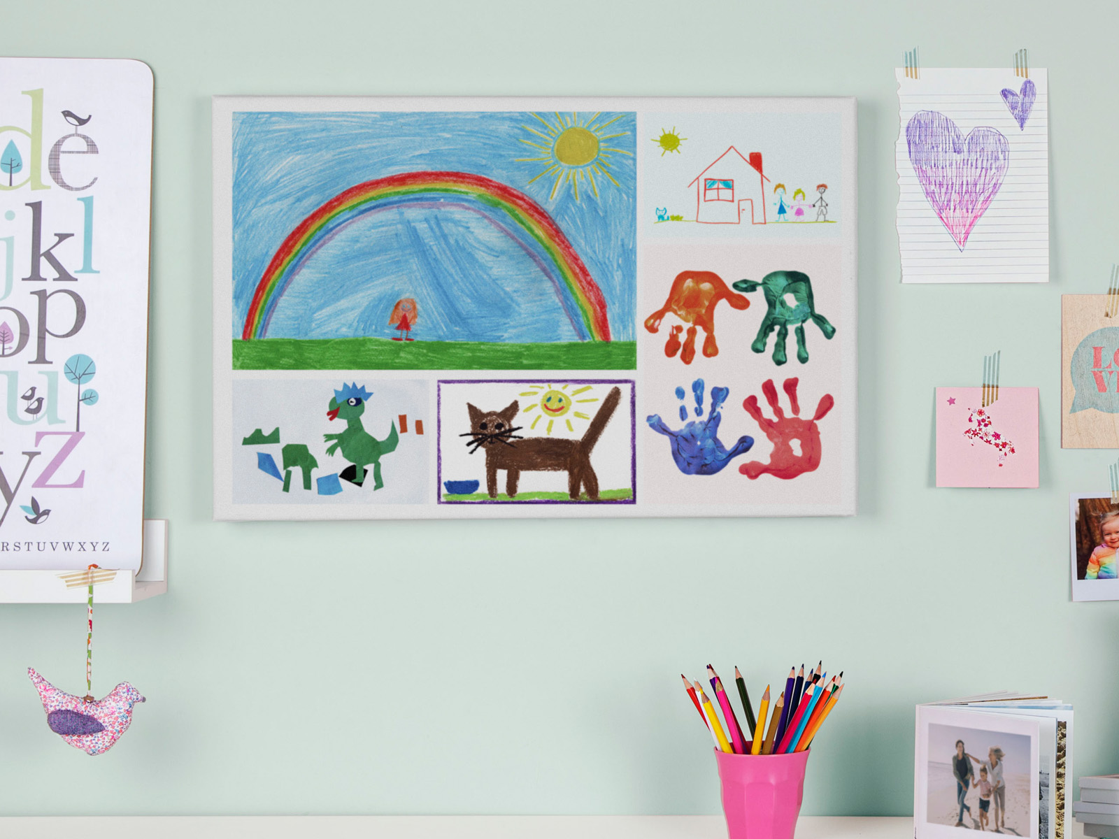 Create a Canvas with your child's drawings | Photobox